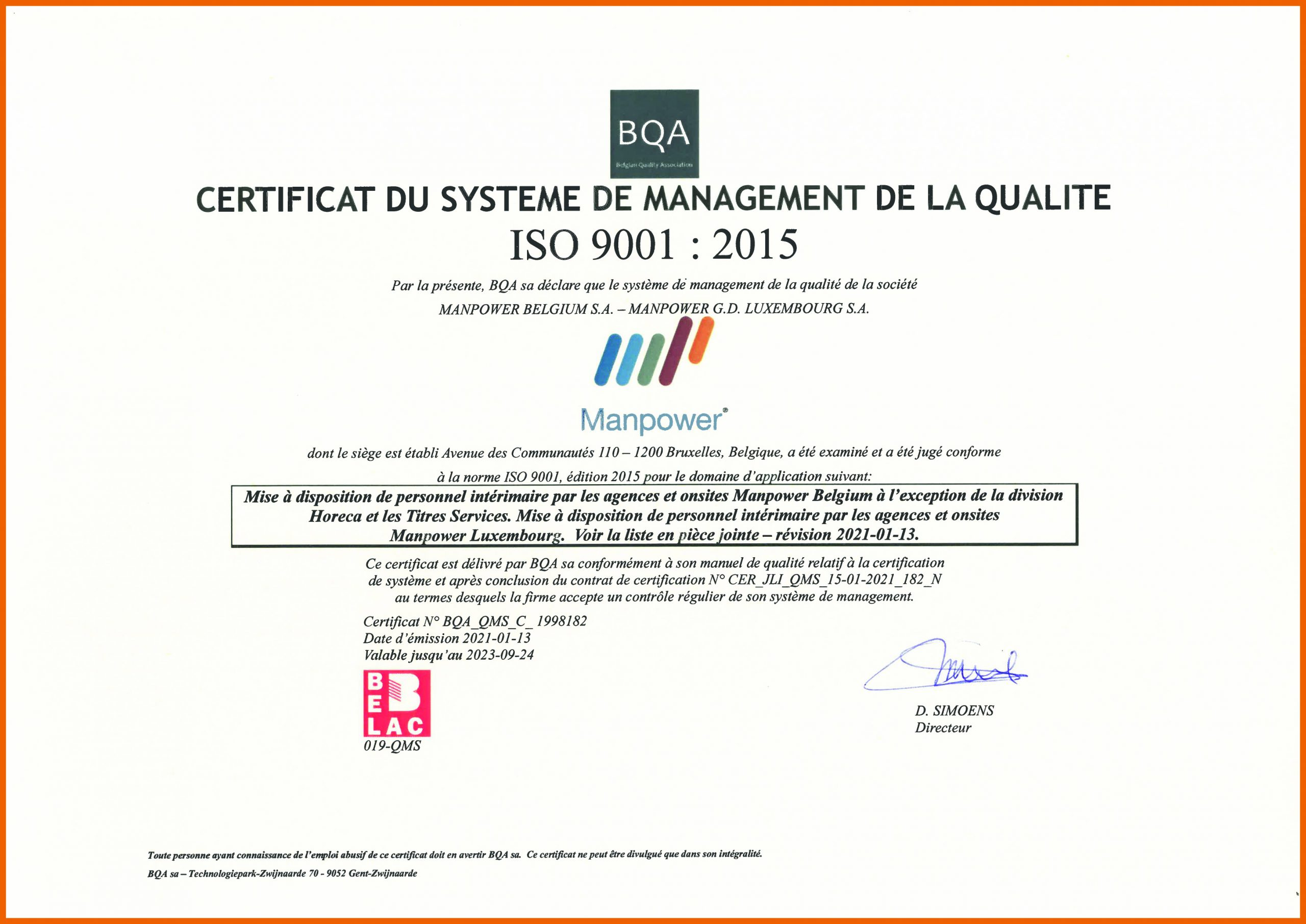 certificat ISO 9001:1998